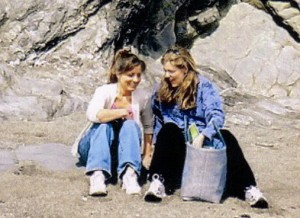 Tina Champagne (left) & Katherine Smith (right) together on the shore of the Helford River, at Trebah Garden in the UK (2003).